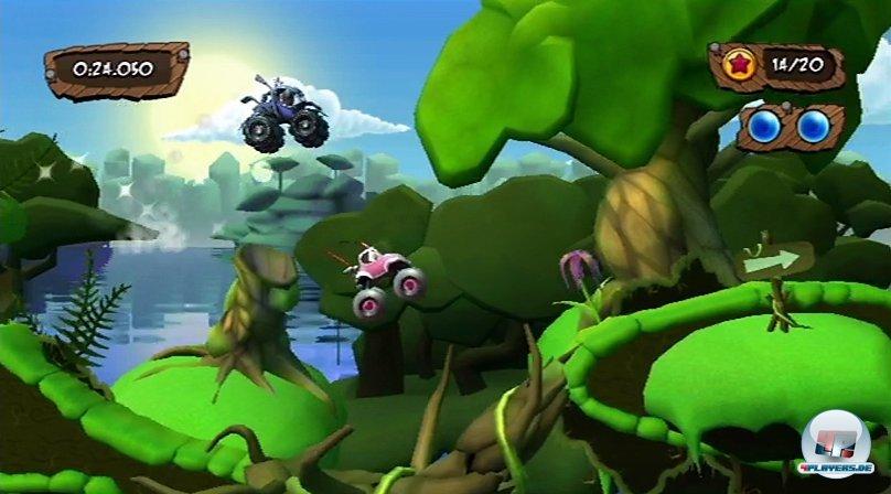 Im Wald beginnt das Rennen um die Welt - die Umgebung dient als Einführung in das knifflige Zeitfahren.