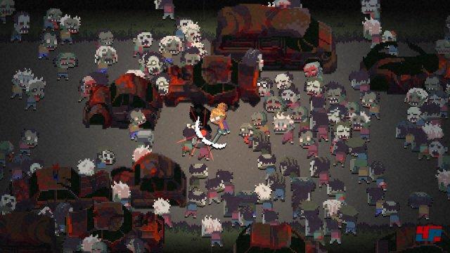 In den Actionsequenzen geht es gegen mitunter hunderte Pixel-Zombies zur Sache.