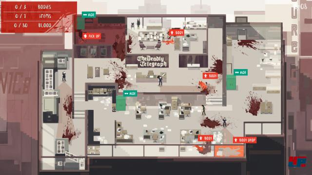 Die Übersicht zeigt grüne Verstecke und rote Leichen bzw. Beweise.