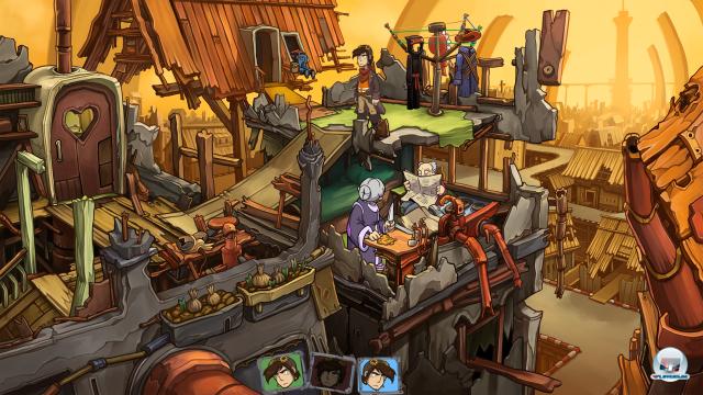 Nachdem Rufus sich geklont hat, wechselt der Spieler zwischen seinen drei Versionen.