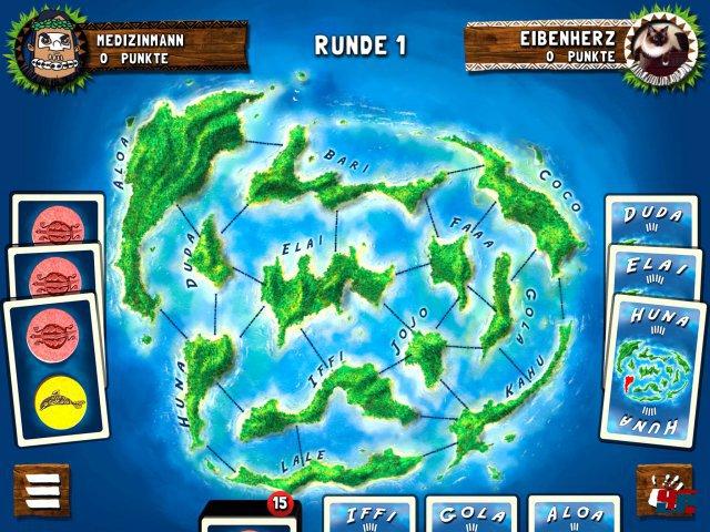 Zu Beginn besitzt niemand eine der zwölf Inseln. Mit den Handkarten werden dann Wasserwege besetzt.