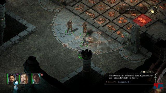 Gleich zu Beginn begegnet man einem der Rätsel in einem Dungeon. Obsidian belohnt das langsame und aufmerksame Erkunden.