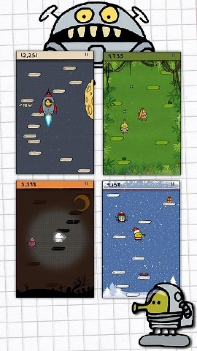 <b>Doodle Jump</b> <br><br> Drogen sind böse, Doodle Jump ist schlimmer: Vor zwei Jahren litten iPhone-Besitzer in aller Welt darunter, dass Freundin, Sohn oder Oma ihnen Stunden lang das Handy entrissen. Und das nur, um noch ein einziges mal so hoch wie möglich gen Himmel zu hüpfen. Das von uns mit 78 Punkten bewertete »Minispiel« wirkte wie eine Initialzündung für das Genre fesselnder Arcade-Quickies à la Canabalt oder Tiny Wings. Ein Jahr später infizierte das Spiel gewordene Suchtmittel von Lima Sky auch den Android-Marktplatz. 2236039