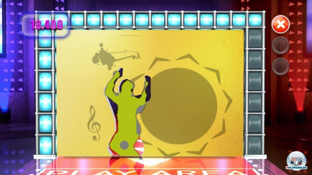 Die Aufgabe: Den Körper vor dem Kinect-Sensor so zu verbiegen, dass er in die Schablone passt.