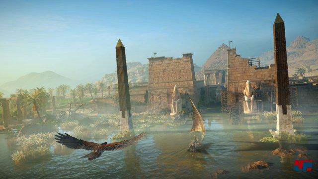 Kein Ubisoft-Spiel ohne Gadget-Tier? Den Adler fliegt man diesmal selbst.