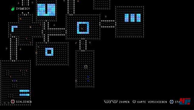 """Vor allem beim Blick auf die Karte werden die ASCII-Ursprünge des Vorbilds """"Rogue"""" deutlich."""