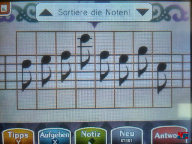 Ordnet die Noten wie auf unserem Bild um die gesuchte Melodie zu erhalten.