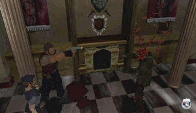 Barry rettet Jill vor einem fauligen Zombie. Was geht in diesem alten Herrenhaus vor?