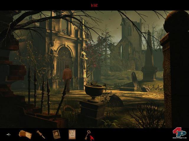 Das Schloss Black Mirror zeigt sich in altenglischer Spukidylle. Die 2D-Statik wird durch bewegte Zweige, Regen und animiertes Wasser aufgelockert.