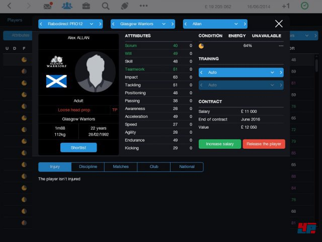 Screenshot - Pro Rugby Manager 2015 (iPad)