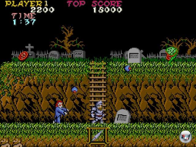 Auch beim Hopsen kann man sich gruseln! Und damit meine ich nicht den Schreckenssprung, der folgt, nachdem man auf einen Aal getreten ist, sondern vielmehr das Jump-n-Run mit der Extraportion Buuhuu: Okay, beim 86er Ghost House auf dem Master System lag das hauptsächlich an der grauenvollen Steuerung, aber schon ein Jahr zuvor bewies Capcom mit Ghosts'N Goblins, dass man ganz wunderbar die kalten Schauer eines Friedhofs mit Hüpfspaß kombinieren kann. Sowie natürlich ein 16-Tonnen-Gewicht an Frust, denn nicht nur war das Spiel höllisch schwer, sondern es war das gleich doppelt: Um das richtige Ende zu sehen, musste es zwei Mal am Stück durchgespielt werden, wobei es beim zweiten Mal schwerer wurde. Genau genommen war es sogar zweieinhalb Mal, denn wenn man im fünften Level eine bestimmte Waffe nicht aufsammelte, wurde man vor dem Bosskampf nochmal zurückgeschickt, um sie aufzusammeln... gruselig! 1922548