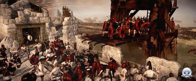 Belagerungstürme voller Römer.