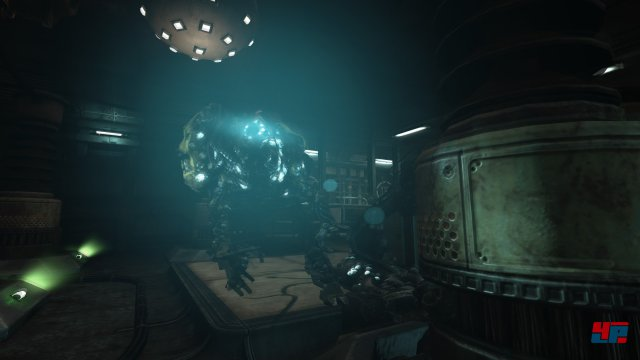 Diese Robotw�chter jagen einen durch die labyrinthische Anlage.