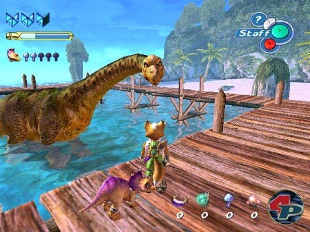 <b>Star Fox Adventures</b><br><br> Kurz vor dem Wechsel zu Microsoft bescherte Rare seinem alten Auftraggeber Nintendo eine echte Grafikbombe. StarFox Adventures war nicht so beliebt wie der Vorgänger, bot aber wunderhübsch glänzende Wasseroberflächen und dank des neuen Fur-Shadings fluffig-räumliches Fuchsfell. Die meisten GameCube-Titel konnten zwar nicht mit den detaillierten Bumpmap-Kulissen der Xbox mithalten, das Bild wirkte aber deutlich sauberer als in PS2-Spielen. 2347137