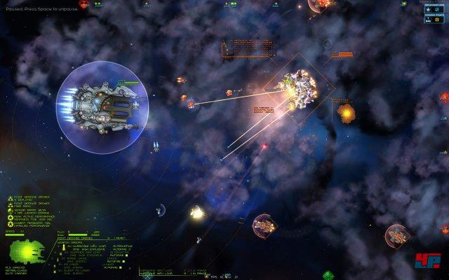 Die Echtzeitkämpfe, die mitunter ganze Flotten einbeziehen, bieten überraschende taktische Finessen.