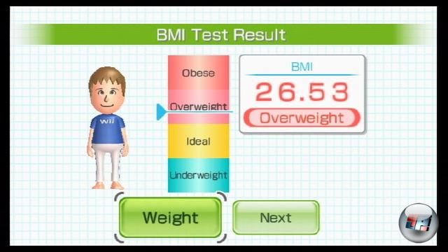 Der Tag der Abrechnung ist da. Kein Rädchen an der Waage kann euch jetzt noch helfen, denn so etwas besitzt der Wii Fit-Controller nicht. Stattdessen knallt euch das Spiel nackte Tatsachen wie euer Gewicht und den dazugehörigen Body-Mass-Index (BMI) vor den Latz. Ihr könnt euch ein Trainingsziel setzen, z.B. dass ihr innerhalb von zwei Wochen ein halbes Kilo abnehmen wollt. 1769163