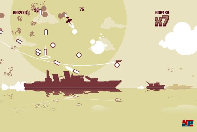 Auf sie mit Gebrüll: Fette Kriegsschiffe geben erst nach mehreren Sturzflügen nach.