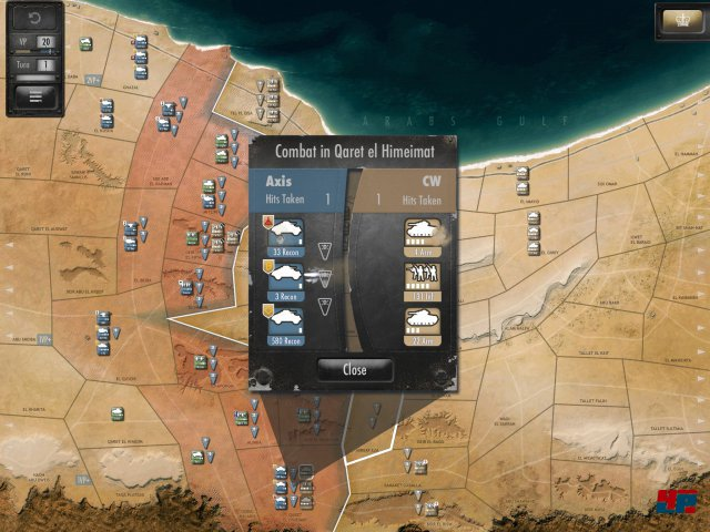 """Zwei neue Truppentypen: Neben der Flak verfügen die Achsenmächte auch über leichte Aufklärungsfahrzeuge """"Recon"""" - sie bewegt sich drei Felder weit, egal in welchem Gelände (!). Zudem verfügen die Briten um El Alamein herum über schwere Artillerie."""