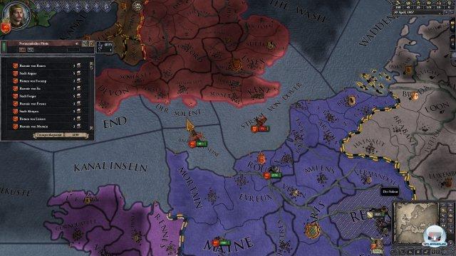 Thronstreit um Engeland. Wilhelm will die Insel, w�hrend Harold sie nicht hergeben will.