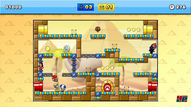 Gewalt ist eine Lösung: Der rechts herumspukende, vom Affen besessene Mario wird mit dem großen Hammer exorziert.