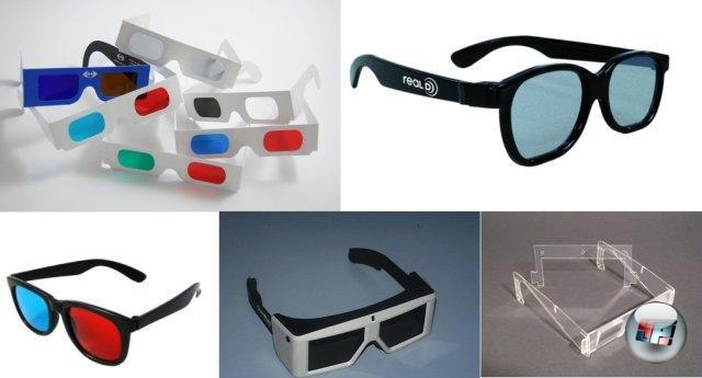 <br><br>Bei den Brillen gibt es allerdings die unterschiedlichsten Filter und Techniken: Da wären zum einen die Anaglyphenbrillen, die über Farbtrennungen den 3D-Effekt hervorrufen. Dabei gibt es unterschiedliche Kombinationen wie etwa Rot/Cyan oder Grün/Magenta, die jeweils nur mit einem dementsprechend aufgenommenen Bild / Film funktionieren. Außerdem gibt es Pulfrichbrillen, bei denen sich der 3D-Effekt nur bei bestimmten bewegten Szenen einstellt. Shutterbrillen (unten mitte) schalten dagegen im Einklang mit dem Bildschirm so genannte Shutter vor die Augen, um im Millisekundenbereich die Sicht zu verdecken, so dass zwei getrennte Bilder im Gehirn ankommen - eine Voraussetzung für die räumliche Wahrnehmung. Wer sich heute im Kino einen 3D-Film anschaut, bekommt meist eine Polarfilter-Brille in die Hand gedrückt. Dabei wird die Lichtschwingung durch die Vorschaltung und Lage von Filtern sowie einer reflektierenden Leinwand dahingehend gesteuert, dass jedes Auge nur eines von zwei Teilbildern sieht. Exotischer sind Prismen-Brillen (rechts unten), in denen Prismen den Strahlengang umleiten sollen. Problem: Für das Verfahren muss immer ein bestimmter Abstand eingehalten und der Kopf waagerecht gehalten werden, damit die Teilbilder korrekt die Augen erreichen. 2049218