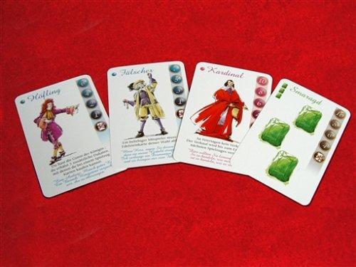 Es gibt 110 Karten, darunter vier Edelsteinsorten und Charaktere, die man entweder sofort oder beim Verkauf spielen kann.