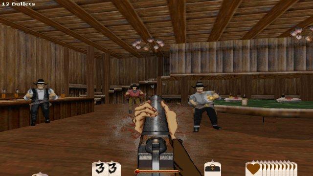 Wie es sich für einen Western gehört, gibt es auch eine Saloon-Schießerei.