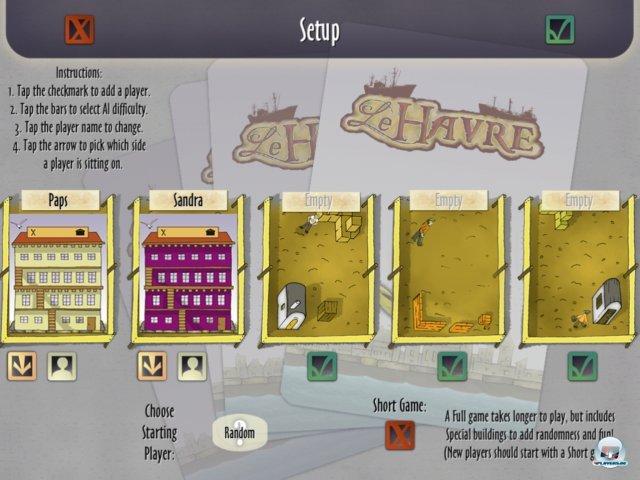 Man kann solo, lokal oder online mit bis zu fünf Leuten über GameCenter spielen. Dabei kann man KI in vier Stuifen hinzu schalten.
