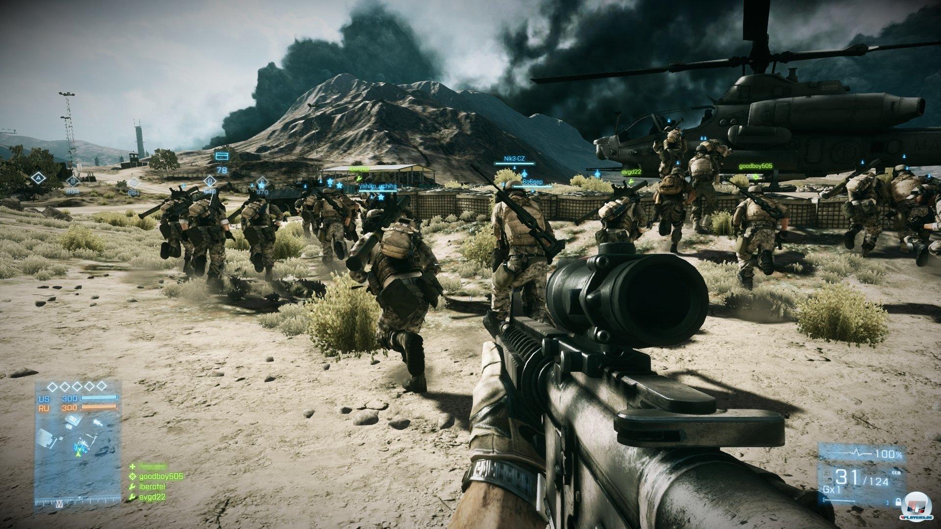 Das ist das wahre Battlefield-Gefühl: Zum Start einer Eroberungs-Runde rennen auf dem PC Spielermassen drauflos! Auf den Konsolen sind 40 Teilnehmer weniger erlaubt, was sich spürbar auf den Schlachtspaß auswirkt.