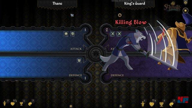 Im Kampf kann man sowohl Karten opfern als auch würfeln - das Ergebnis wird kurz animiert.