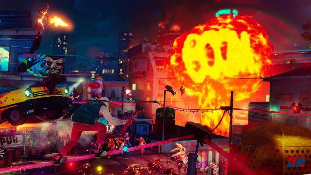 Wie awesome ist das denn? In Sunset Overdrive sind sogar die Explosionen wortwörtlich im Comic-Stil gehalten.