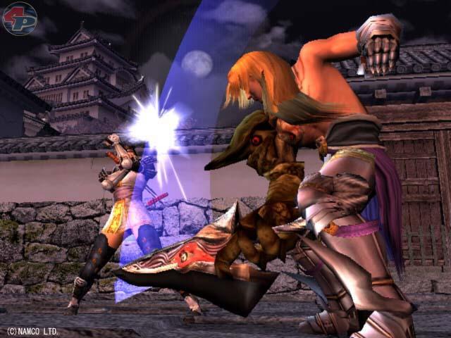 Eine Dame im Ninja-Outfit wird von einem Mann angegriffen, der SoulEdge in der Hand hat. 15976