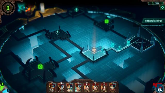 Die Kohorte durchstreift eine Gruft der Necrons. In jedem Raum wartet ein Ereignis - manchmal lauern auch Gegner vor Ort.