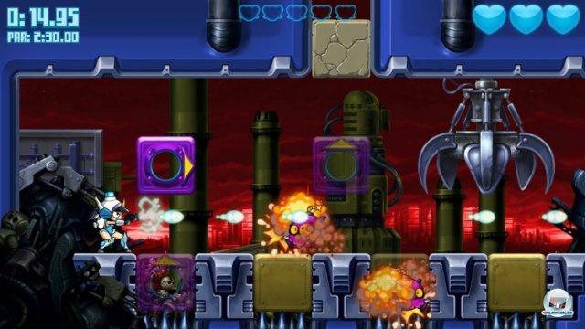 Auch marschierende Bomben werden mit Boost-Portalen gutem Timing umhergeschleudert.