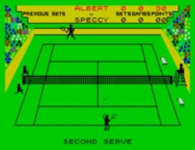Bei Match Point für den ZX Spectrum wurde es schon etwas anspruchsvoller und das Spielfeld wurde mit allen Linien abgebildet.