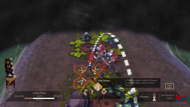 Rundenstrategie mit Sichtlinien, Beschuss durch eigene Truppen und weiteren Überraschungen ist eine Spielebene in Massive Chalice.