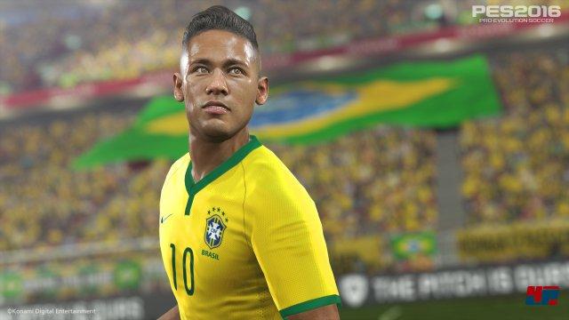 Der brasilianische Coverstar von PES 2016 sieht heroisch, aber auch ein wenig seltsam aus...