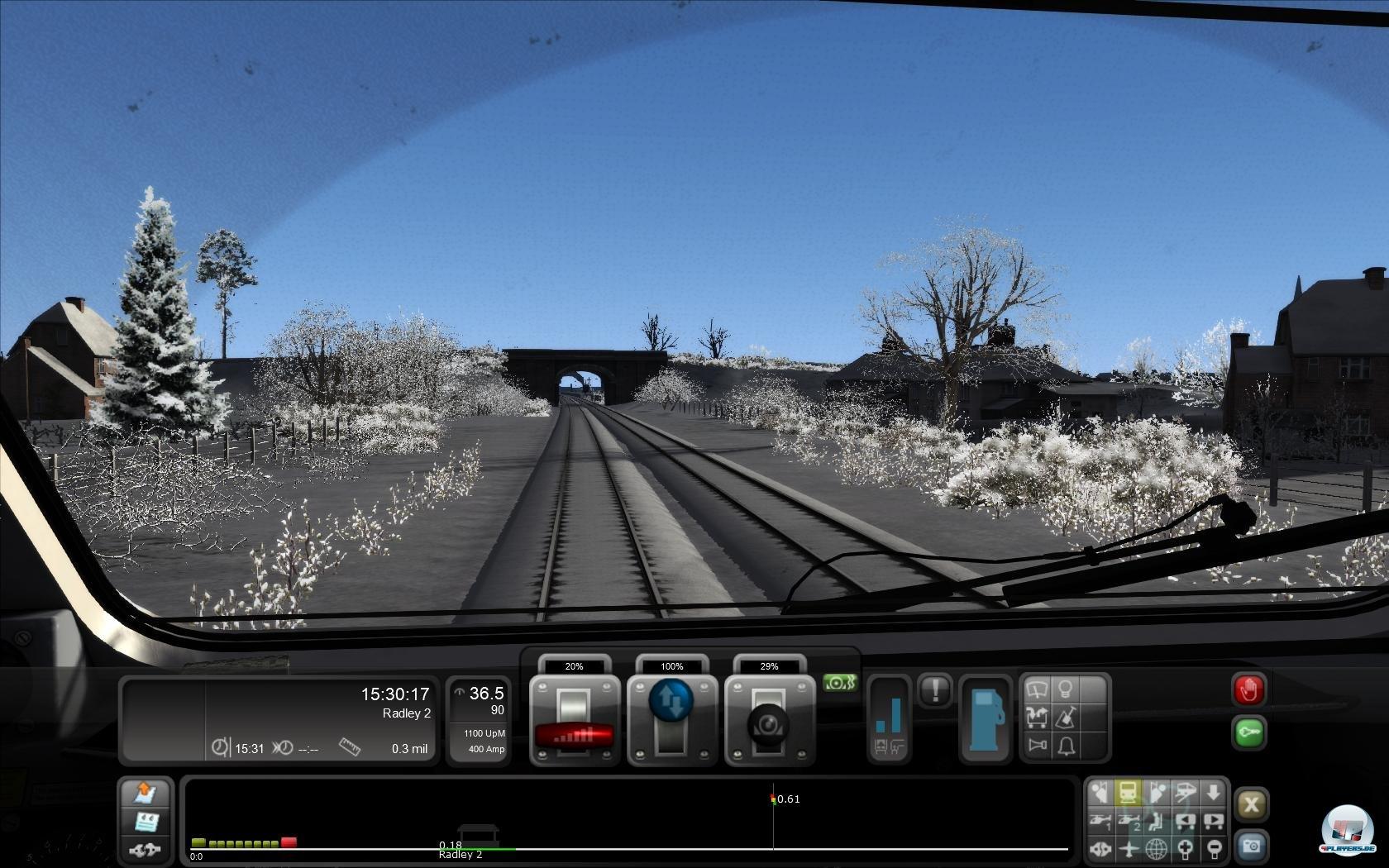 ..mal mit der Diesellok durch verschneite Landschaften in England.
