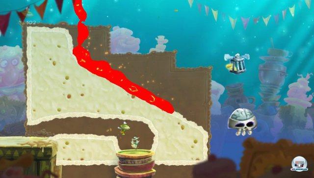 Hier fräst der zweite Spieler z.B. mit der Fingerspitze einen Tunnel in den Berg. Nur wenn die Lava richtig abgeleitet wird, gelangt Globox zum Käfig.
