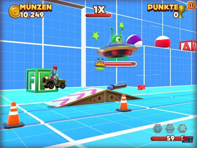 In den Bonus-Levels warten lustige Herausforderungen. Hier wird z.B. wild auf ein Ufo eingehämmert.