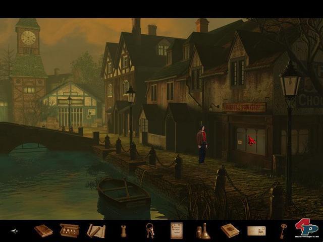Auch ein kleines Dorf gehört zu den zahlreichen Örtlichkeiten, die im Laufe des Abenteuers zugänglich sind. In der Taverne darf Samuel Gerüchten lauschen.