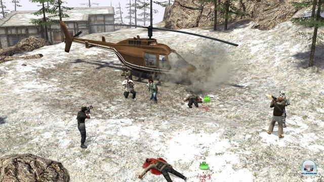 Die Söldner hinterlassen Fußspuren im Schnee. Die KI-Soldaten interessieren solche Spuren übrigens nicht.