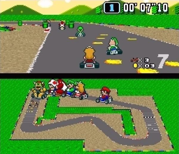 Super Mario Kart (1992)<br><br>Wie eingangs erwähnt fühlt sich Mario nicht nur im Hüpfgenre heimisch, sondern tummelt sich außerhalb davon in vielen Genres - seit 1992 auch in der Rennwelt: Super Mario Kart sorgte für eine massive Welle mehr oder weniger offensichtlich abgekupferter Klone. Und warum? Weil es mal wieder brillant designt war: Die Mode 7-Grafik zoomte flüssig und flott, die Steuerung war leicht und direkt, das Streckendesign ideen- und der Fahrerkader abwechslungsreich. Und das Beste: Man konnte es zu zweit spielen! 1724681