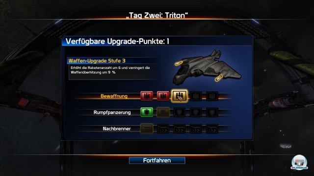 Durch erfolgreichen Missionsabschluss und die Erfüllung von Bonuszielen erhält man Upgrade-Punkte, mit denen man sein Schiff verbessern darf.