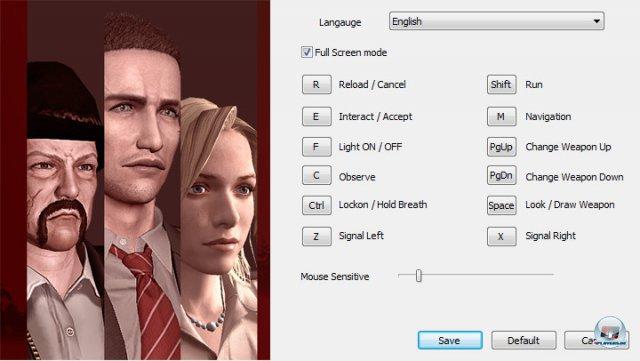 Das Optionsmen� am PC. Im Spiel kann man noch kleine �nderungen wie das Umkehren der Kamerabewegung vornehmen, wichtige grafische Einstellungen fehlen aber.