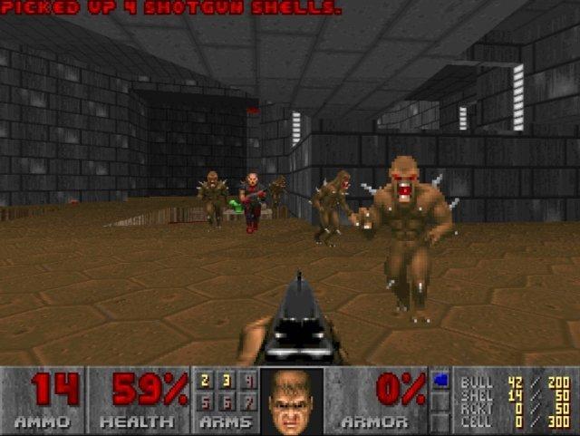 Ein Space Marine, eine Shotgun, die Horden der Hölle im Anmarsch - das war Doom!