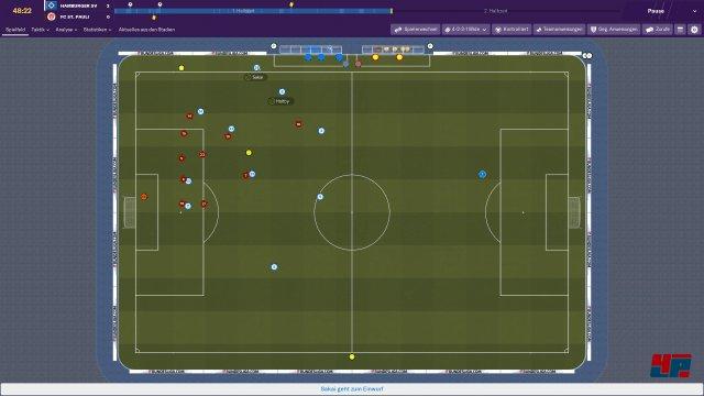 Wer will, kann bei der Match-Darstellung sogar die ganz klassische Draufsicht wählen. Und selbst in dieser Perspektive kochen die Emotionen hoch.