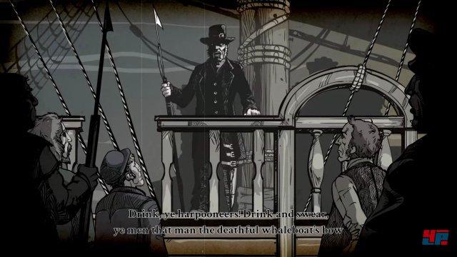 Im Tutorial begegnet man auch Captain Ahab, danach startet man seine eigene Walfang-Karriere.