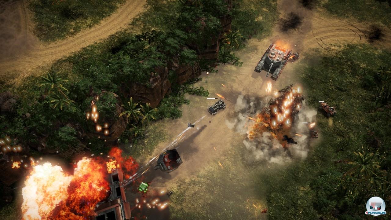 Technisch ist das Spiel extrem fortschrittlich: Exzellente Landschaftsdarstellung, druckvolle Explosionen, mächtig viel Rambazamba.