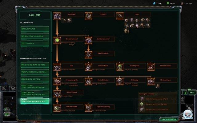 Der neue Technologie-Baum der Zerg (im Multiplayer-Modus).